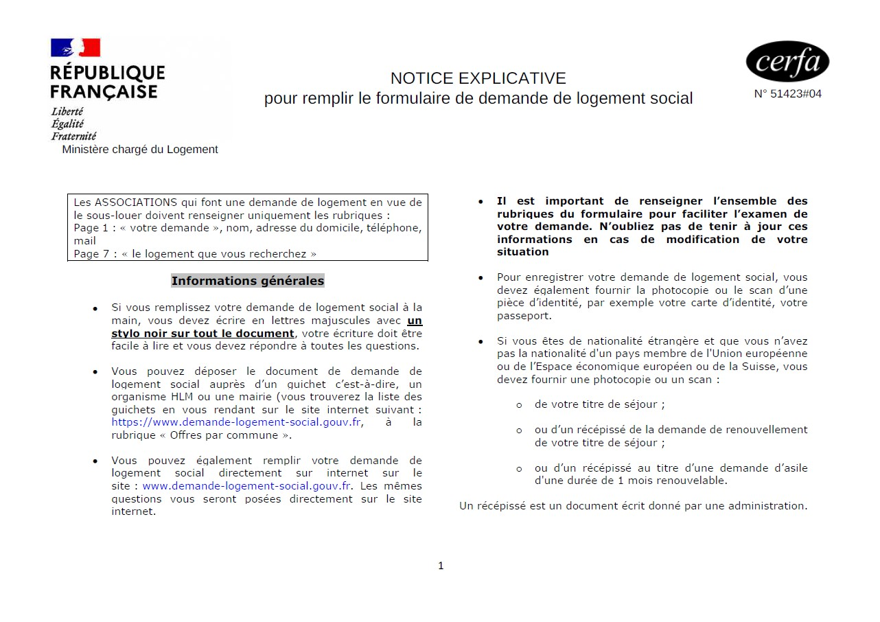 Notice explicative logement social 2021
